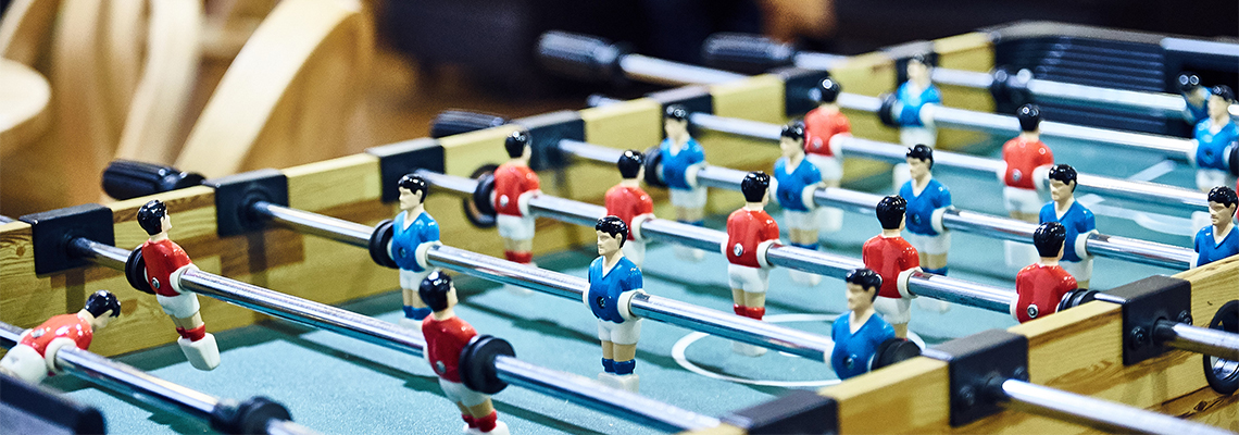 A table football table in The Create Centre café